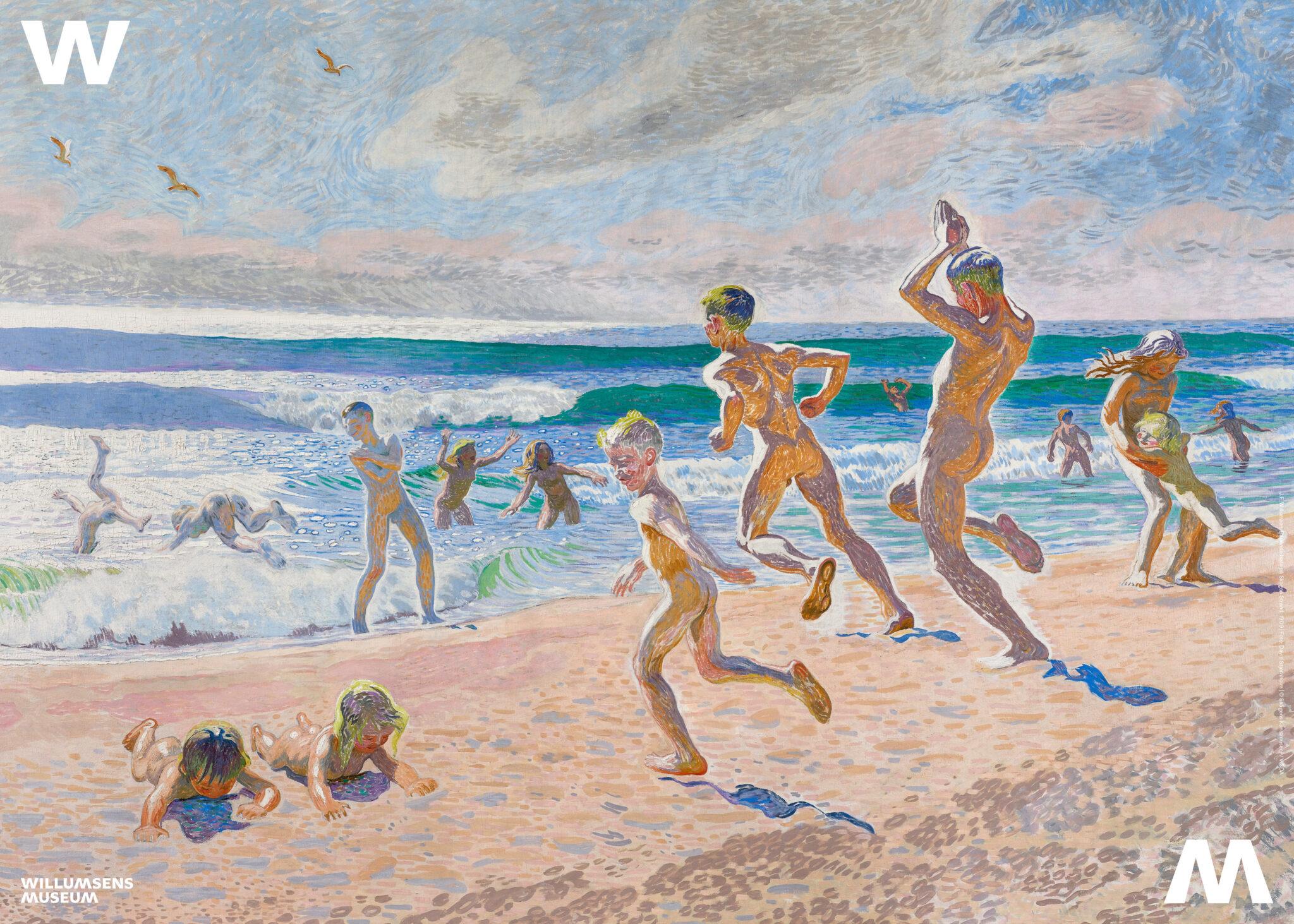 Plakat til museumsbutikken - Badende børn på Skagen Strand