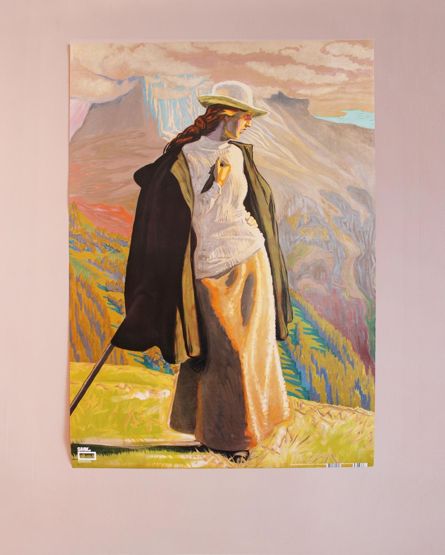 Plakat med motiv af En Bjergbestigerske fra 1912.