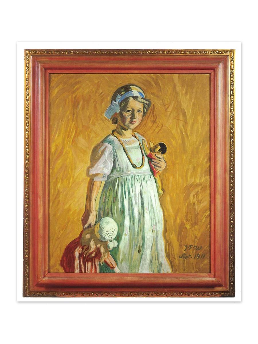 Pige med dukke Postkort Willumsens Museum
