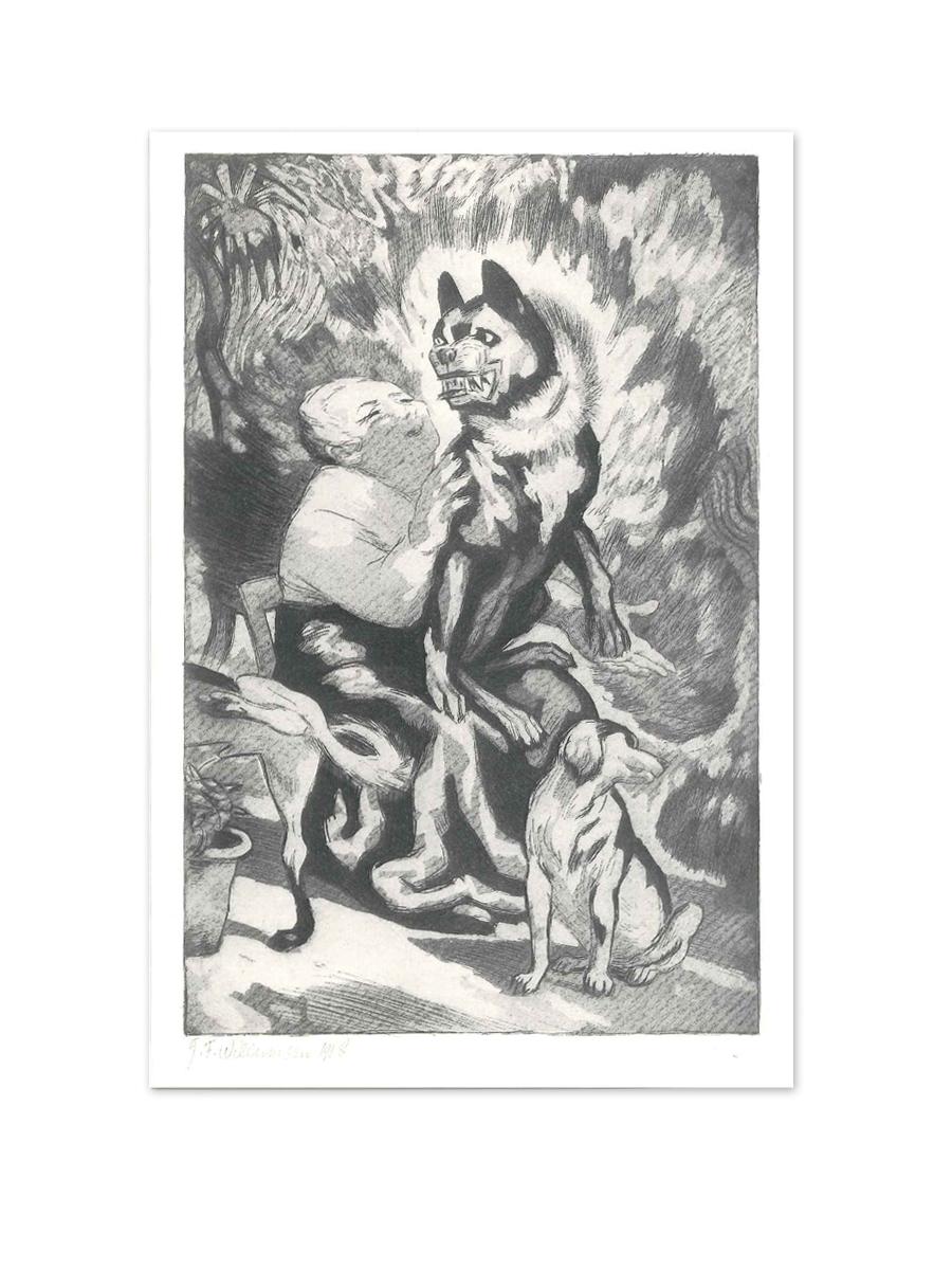 Den rare hundekone 1918 Postkort Willumsens Museum Sort hvid