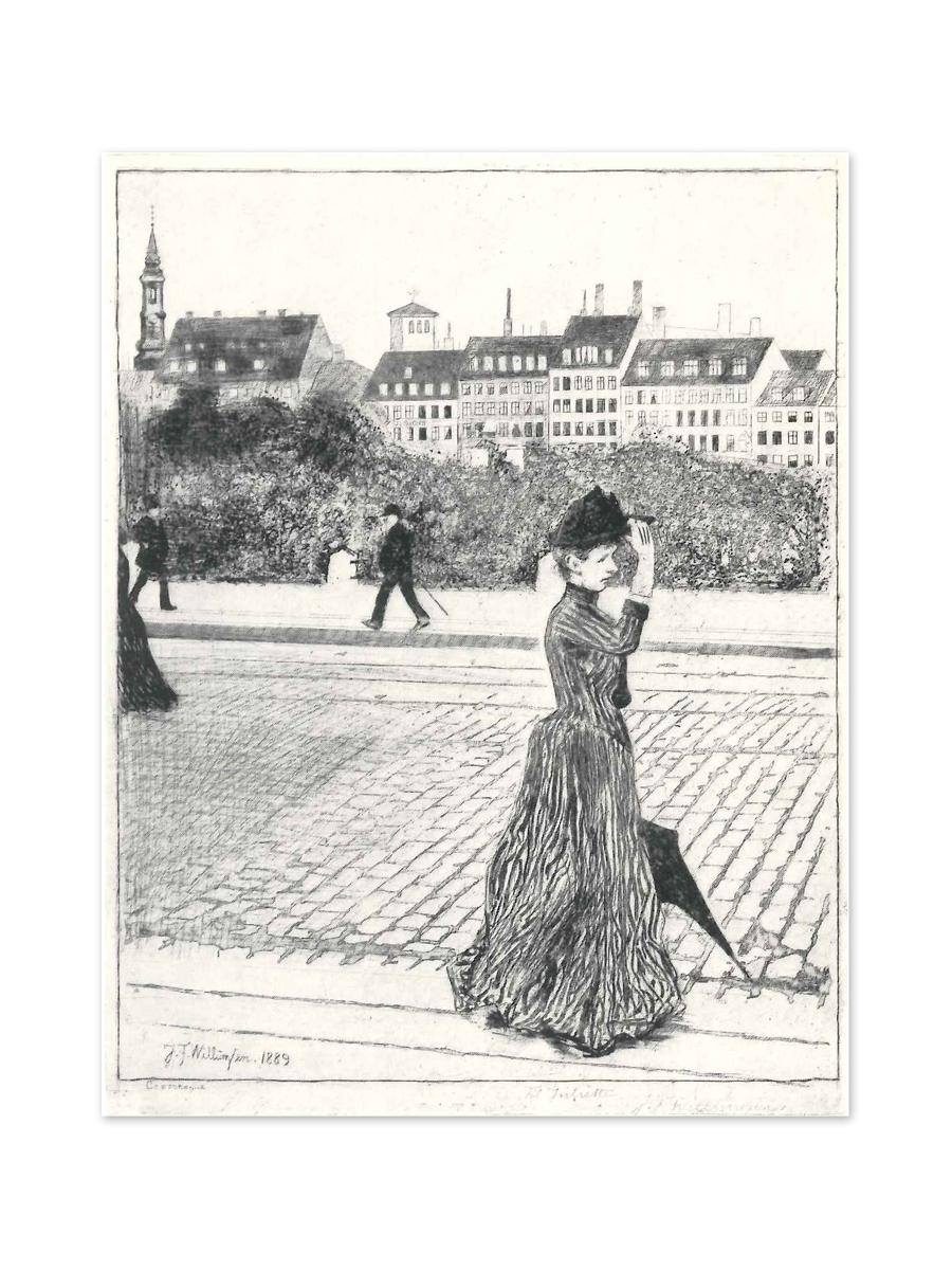 Dame, der spadserer 1889 Postkort Willumsens Museum Sort hvid