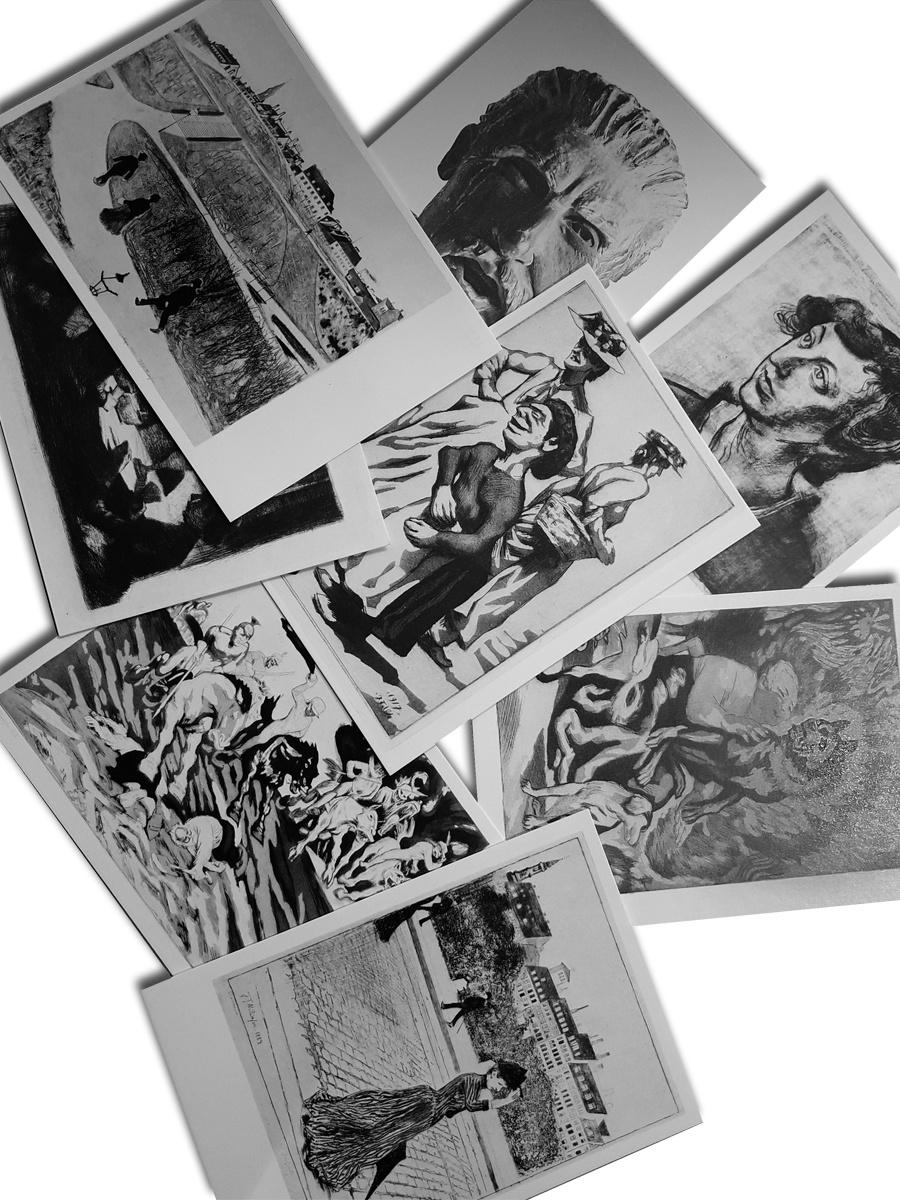 Grafisk kortpakke Postkort Willumsens Museum Sort hvid