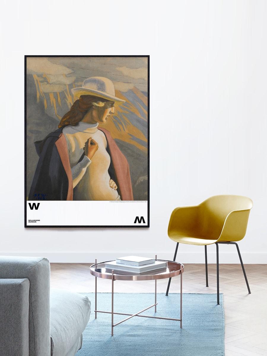 Plakat til Museumsbutikken Forarbejde til en Bjergbestigerske